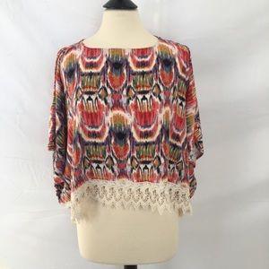 BB Dakota Ikat Cold Shoulder Poncho w Crochet Trim